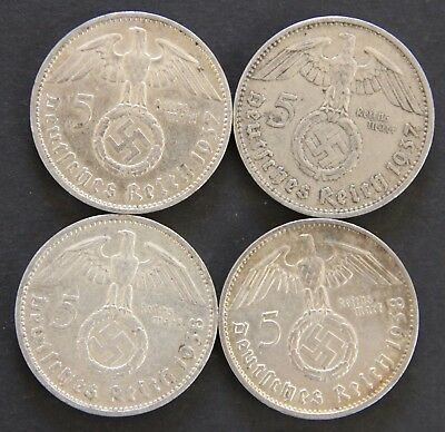 Four (4) Third Reich Nazi 5 Reichsmark Silver Coins  1937-A & 1938-F Circulated