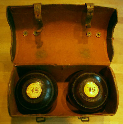 """Thomas Taylor Antique Wooden Lawn Bowling Balls Initialled  """"j.s."""""""
