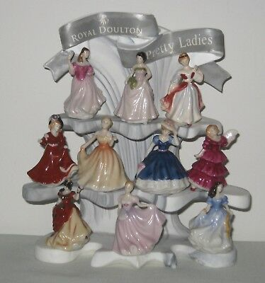 Royal Doulton MINIATURE Pretty Ladies Figures x 10  on Stand ~ 1991-2000