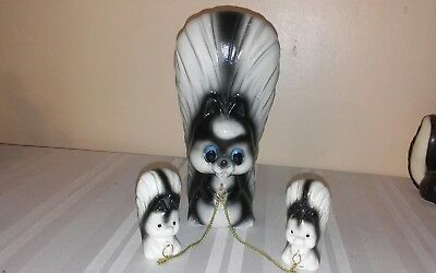 Vintage Pottery SKUNK FAMILY Figurines Mom w/Babies on Chains JAPAN