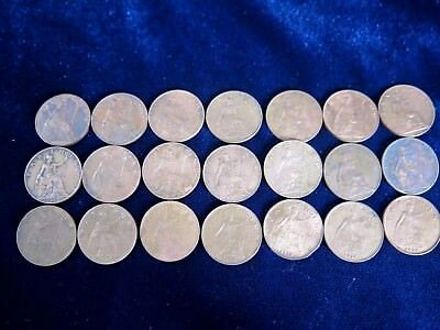 Bulk Lot 21 x King George V Farthing Coins Mixed Dates [inc Detailed Examples]