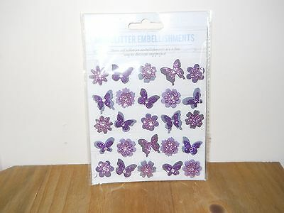 1 Brand New Pack Of 25 Mini Glitter Embellishments In  Mauve /butterfly/flower.