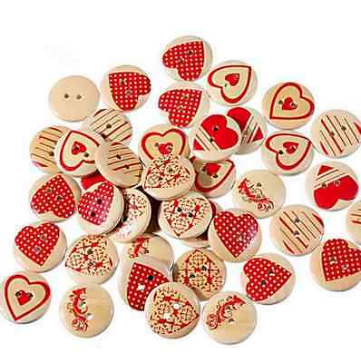 25X Wooden Buttons Mixed Red heart pattern Round sewing scrapbooking 20mm
