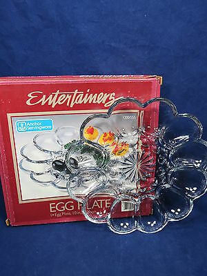 """Vintage Anchor Hocking Entertainers 10"""" Egg Plate Original Box Great Gift! S6 1"""