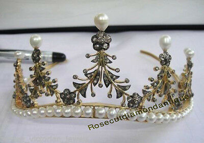 ESTATE VINTAGE ANTIQUE ROSE CUT DIAMOND 4.42ct BEAUTIFUL PEARL TIARA FOR WEDDING