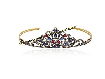 ART DECO ANTIQUE ROSE CUT DIAMOND 7.84ct STERLING SILVER 925 SAPPHIRE RUBY TIARA