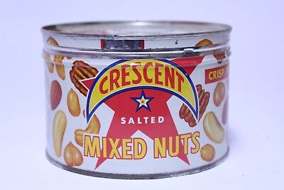 Nice Vintage Crescent Brand Salted Mixed Nuts Tin