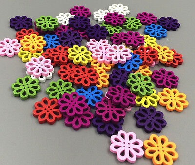 50pcs Random Mixed Flower Shape Wood Sewing Buttons 20mm paste decoration