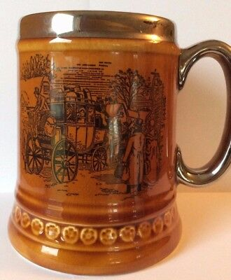 Lord Nelson Pottery Beer Stein with Pictured Horse Drawn Coach Carriage 3-72