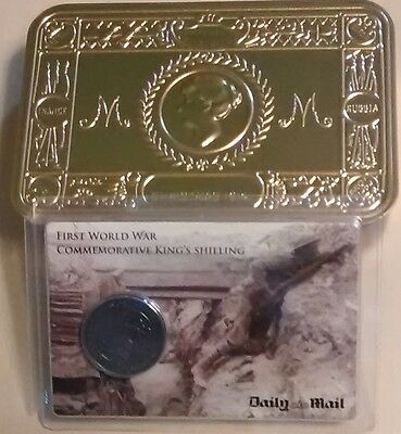 1914-1918 Ww1 Queen Mary Christmas Centenary Tin Box & King's Shilling Replica