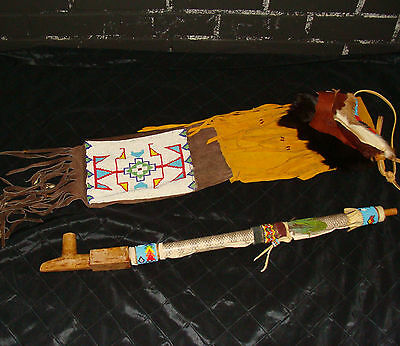 """Native American 1960's 26"""" peace pipe/leather bag Tallahassee Fl pipestone bowl"""