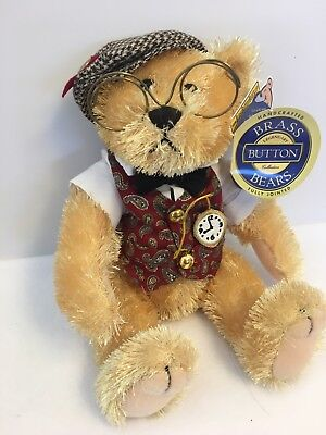 """Brass Button Bear Bentley The Bear of Wealth 12"""" fully jointed with tag"""