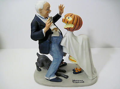 Vintage 1980 TRICK OR TREAT Halloween Norman Rockwell PUMPKIN Porcelain Figurine