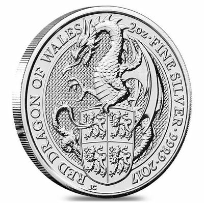 """The Queen's Beasts 2017 """"Red Dragon of Wales"""", 2 onzas / OZ Plata"""