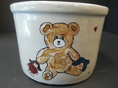 Robinson Ransbottom Crock Pot Stoneware Teddy Bear Crock 3.25""