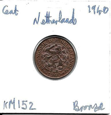 Netherlands  Cent 1940   KM152  Much Lustre!