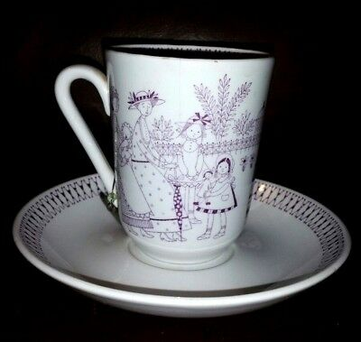 Arabia  Finland Emilia Mothers & Children lavender & white cup saucer mug as is