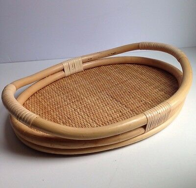 """Vintage Oval Rattan Wicker Bamboo 16"""" Serving Tray"""