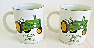 John Deere Mugs Model A Tractor Set of 2 EUC