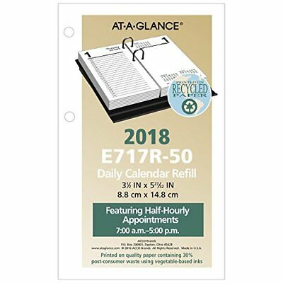 "AT-A-GLANCE Daily Desk Calendar Refill January 2018 - December 2018 3-1/2"" x ..."