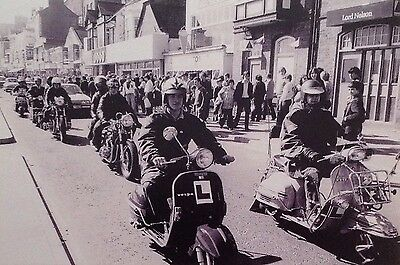 "MODS AND ROCKERS 6"" X 4"" Collectable Postcard ( Black And White ) Mod Revival"