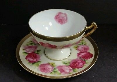 PRUSSIA Beyer & Bock Hand Painted Cabbage Roses Cup & Saucer