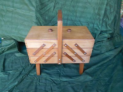 WOODEN CANTILEVER SEWING BOX ~ 5 Sections Large Carrying Handle  Contents Cotton