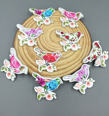 25pcs Wooden Buttons Printing Flower pattern Mix Sewing bird scrapbooking 31mm