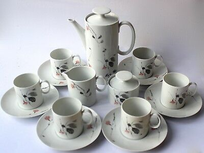 THOMAS China Coffee Pot Cups & Saucers x6 Milk Lidded Sugar Bowl QUINCE Germany
