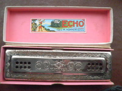 "Vintage - Harmonica - ""hohner"" - Germany - -""the Echo Harp"" - Bell Metal Reeds"