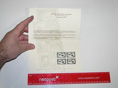 BEP Souvenir Card - 1995 New York $1 Cattle In The Storm Stamp Block
