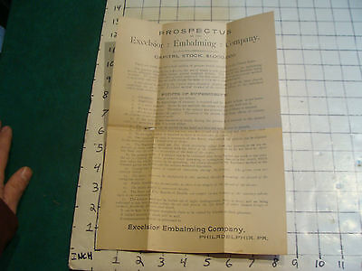 Original1800's PROSPECTUS of the EXCELSIOR EMBALMING CO. phila pa STOCK