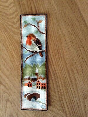Completed Cross Stitch - Bookmark - Winter Scene And Robin
