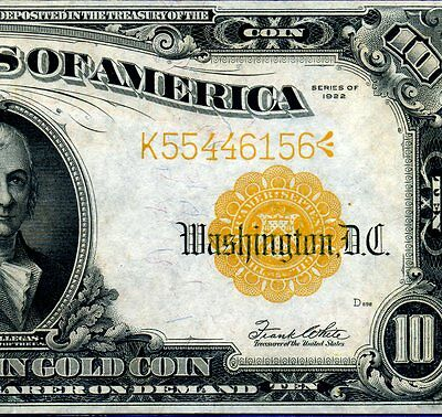 1922 $10 Gold Certificate *** Superb Grade *** # K55446156