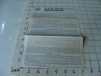 vintage Slide Rule Instructions: Sterling ACUMATA ins. as shown