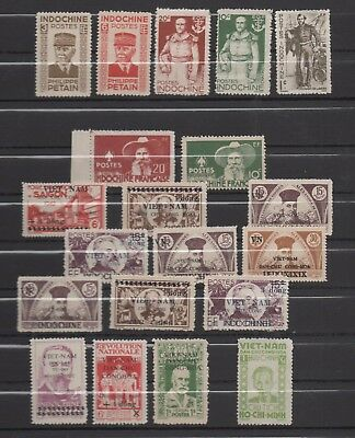 Indochine Early Viet Nam Viet-Nam  Viet Minh 1943 1945 20 Timbres/stamps Rrr!!!!