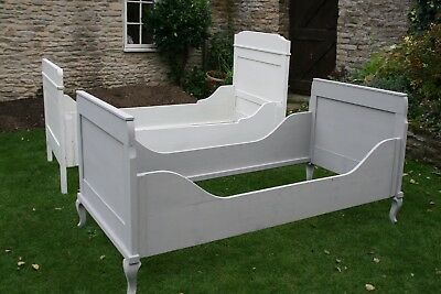 antique single pine sleigh bed grey