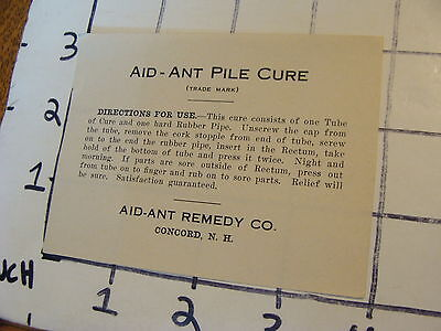 vintage original Label: AID-ANT for man or beast (directions) CONCORD NH