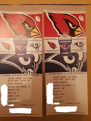 2 x NFL London Tickets Twickenham 2017 Arizona Cardinals vs. LA Rams 22/10/17