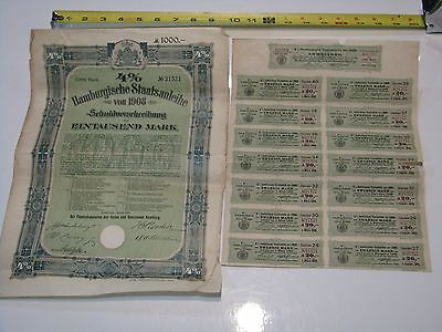 1908 German City of Hamburg 1,000 Mark 4% Bond, 1908