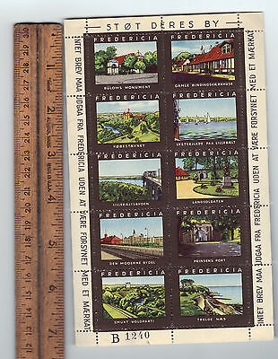 Denmark Fredericia Travel Propaganda Promotional Stamp Label Pane of 10