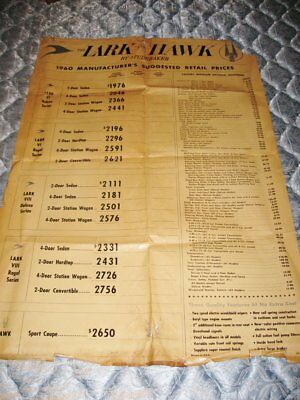 """Large Studebaker Dealer Showroom Wall Poster With Pricing  29"""" x 42"""" Fair Cond."""
