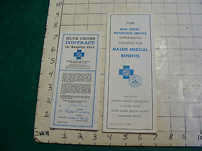 Vintage BLUE CROSS benefits & contract papers, 1970's