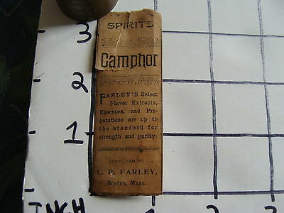 Orig Vintage label: 1800's SPIRITS CAMPHOR l.p. Farley BOSTON MASS