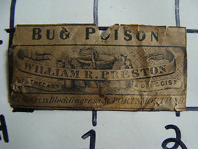 Orig Medicine label: 1800's BUG POISON William R. Preston Portsmouth NH druggist