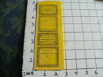 Orig Vintage label: 1800'S E.S. Curtis' Indelible Ink BOSTON yellow background