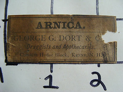 Original Medicine label: 1800's ARNICA,  George G. Dort & co. druggest, Keene NH