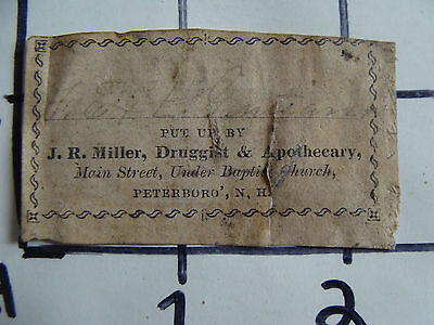 Original Medicine label: EARLY--J.R. MILLER, druggist, Peterburo NH,
