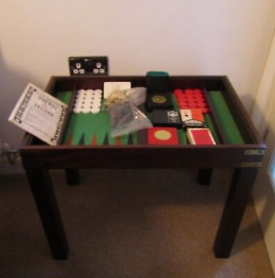 Glass Topped Games Table & Games: Chess, Backgammon, Clipper Dice, 4 Packs Cards
