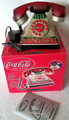 Vintage Style COCA COLA Lighted Stained Glass Look Table Night Stand Telephone